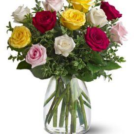 Mixed Rose Vase (TFWEB334)